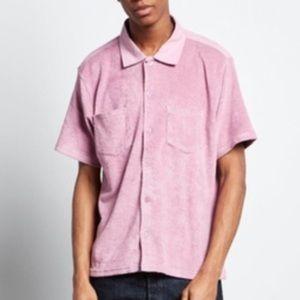 STUSSY Reverse terry cloth button down shirt NWT